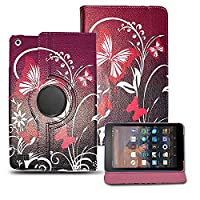 Kamal Star KINDLE FIRE HD 8 2015 Case, Leather Wallet flip cover,back stand cover,Full Body protection tablet cover by (Purple Butterfly)