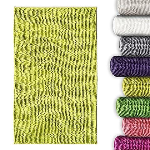 Tapis de bain chenille vert pomme casa pura® antidérapant et absorbant   8 couleurs disponibles -50x80cm