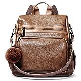 Borsa a Tracolla Zaino in PU Pelle Morbida Moda Donna Viaggio Daypack Antifurto 3 Modi Convertibile Zainetto marrone