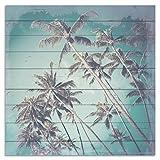 Wandbild aus Holz | Holzbild | Shabby-Look | Landhaus | Palmen | Vintage | Geschenk | ca. 50x50 cm