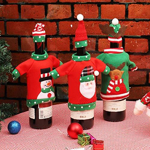 (Artlalic 3pcs Hässliche Weihnachtsstrickjacke-Wein-Flaschen-Abdeckung, Handgemachte Wein-Flaschen-Strickjacke Für Weihnachtsdekorationen Hässliche Weihnachtsstrickjacke-Partei-Dekorationen)