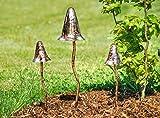 3er-Set Deko-Pilze für den Garten aus Metall in zwei unterschiedlichen Größen, Gartendeko, Gartenpilze, Garten, Blumenbeet, Dekoration, Figur, Skulptur