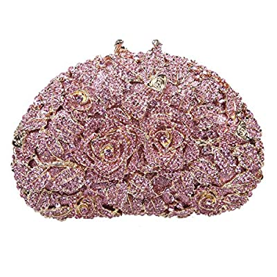 Bonjanvye Glitter Studded Rhinestone Rose Clutch Purse for Wedding Party