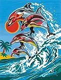 Reeves Malen nach Zahlen 8+Jahre, Tiere 30x23cm, 7 Farben, Motiv - Springende Delfine
