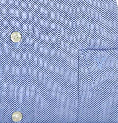 Marvelis Modern Fit Hemd blau strukturiert Mittelblau