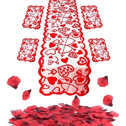 Fepito 505pcs san valentino set decoration include cuore rosso runner table tovagliette e seta rossa petali di rosa per il giorno di wedding day bachelorette party madre di san valentino