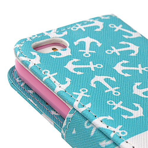 Lanveni® PU Ledertasche für iPhone 5 5S / iPhone SE Case Flip Cover Telefon-Kasten Handyhülle Bookstyle Wallet Brieftasche Card Slot Handycase Gemalt Muster Anker Anker