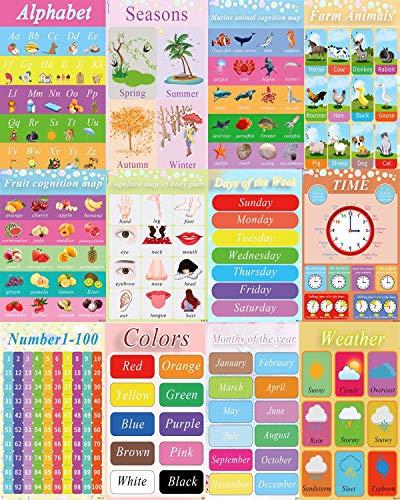 Lernposter für Vorschulkinder und Kinder, ideal für Kindergarten, Homeschool Kindergarten Klassenzimmer - Lehrt Zahlen Alphabet Farben Tage und mehr, 12 Stück