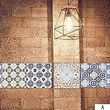 Fliesen-Aufkleber Toilette Boden Aufkleber Schlafzimmer Wohnzimmer PVC-Wandaufkleber Mediterraner Stil DIY 100 * 20 cm A
