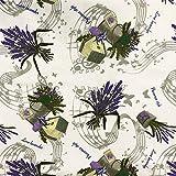 Hans-Textil-Shop Stoff Meterware, Lavendel Strauß Noten,