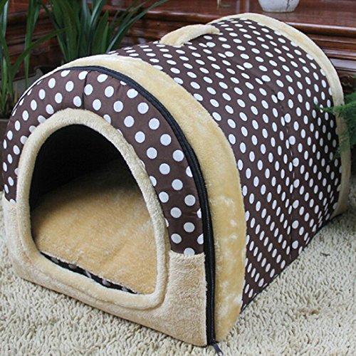 Hochwertig Tragbar draußen Outdoor Hundehöhle Hundebett Hundehütte Katzenbett im Form von Hause Polka Dot S -