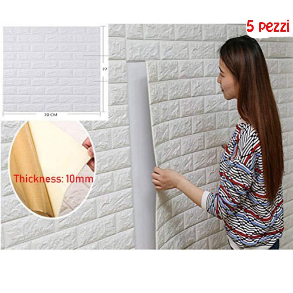 5pcs 77x70cm 3d stickers muraux 3d brique papier peint 3d brique style simple s curit et. Black Bedroom Furniture Sets. Home Design Ideas