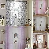 LianLe Schmetterling Druck Gardine Vorhang Transparent Schlaufenschal Dekoschal 100x200 cm für Wohnzimmer Hochzeit Party Deko