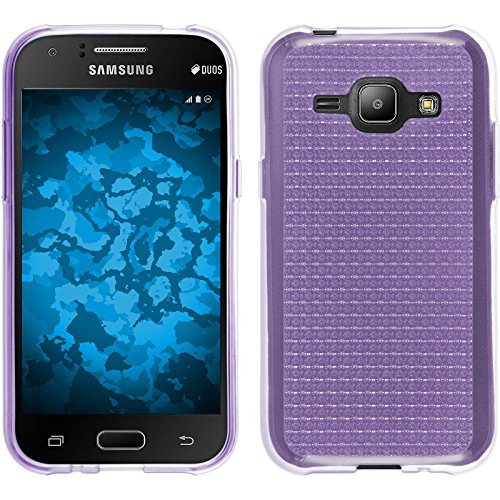 PhoneNatic Case für Samsung Galaxy J1 (2015 - J100) Hülle Silikon hellblau Iced Cover Galaxy J1 (2015 - J100) Tasche + 2 Schutzfolien Lila