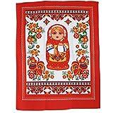 russouvenir Küchentuch, Geschirrtuch Matroschka auf rot Baumwolle Format 60cm X 40 cm