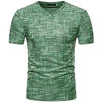 FIRSS Männer Kurzarmshirt,Patchwork Oversize T-Shirt V-Ausschnitt Shirt  Streifen Businesshemd Vintage 342419376e