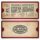 Einladungskarten zum Geburtstag (30 Stück) als Eintrittskarte im Vintage Ticket Look in Rot