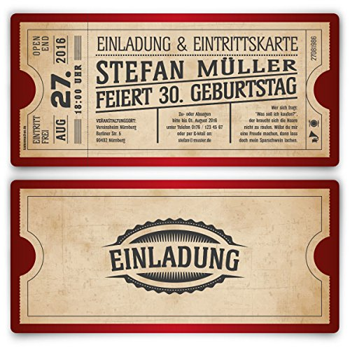 Einladungskarten zum Geburtstag (100 Stück) als Eintrittskarte im Vintage Ticket Look in Rot