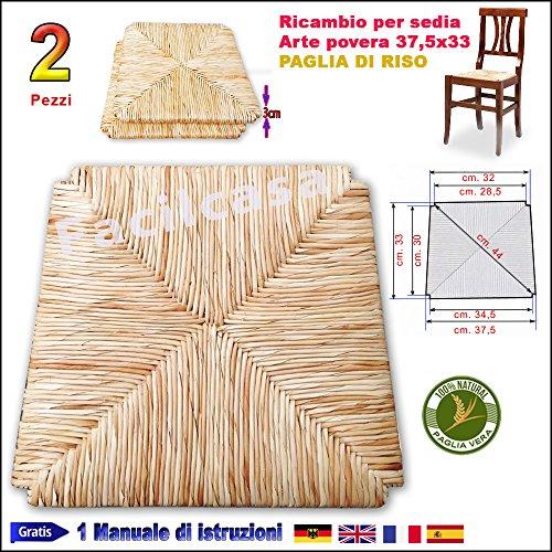 Seduta fondo paglia di riso facilcasa ricambio per sedia cm. 37,5x33 art.10r