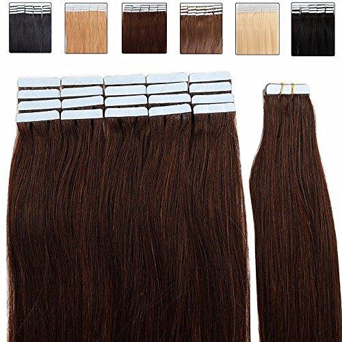 Tape in extension capelli veri biadesivo - 55cm 50g 20 fasce #2 marrone scuro - 100% remy human hair lisci umani