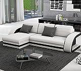 Muebles Bonitos - Sofá cama Hilda con chaise longue universal blanco con negro