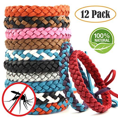 Arino set di 12 braccialetti antizanzare braccialetto bracciale in pelle zanzara insetti repellenti per protezione di 15 giorni naturali senza deet per bambini adulti impermeabile