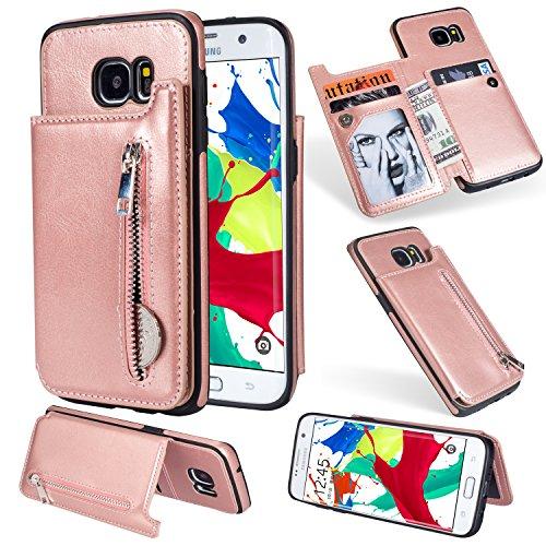 Artfeel Flip Brieftasche Hülle für Samsung Galaxy S7, Samsung Galaxy S7 Leder Handyhülle mit Kartenhalter,Retro Reißverschluss Tasche Zurück Abdeckung mit Ständer Magnetverschluss-Roségold -