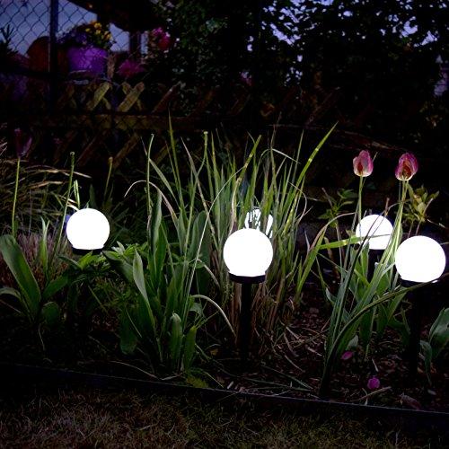 (456) (6er Set) LED Solar Kugel Leuchte Ø10 cm Außen Lampe Garten Wegleuchte Solarleuchte
