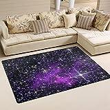 Naanle Stars Non Slip Area Rug for Living Dinning Room Bedroom Kitchen, 50 x 80 cm(1.7' x 2.6' ft), Universe Galaxy Space Nursery Rug Floor Carpet Yoga Mat