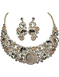 c216a59c59e Shirin Sehan Parure bijoux de Alhambra cristal couleur or collier et  boucles d oreilles Statement