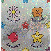 Mixed image 28/12mm Sparkly Reward Stickers with captions. 5 sheets, 195 stickers per pack