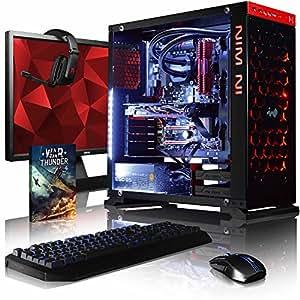 """VIBOX Armageddon GL550-107 PC Gaming Computer con Voucher di Gioco, 27"""" HD Monitor (4,3GHz Intel i5 6-Core Processore, MSI Nvidia GeForce GTX 1050 Scheda Grafica, 16GB DDR4 RAM, 2TB HDD, Senza OS)"""