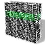 XuzhEU Garten-Gabione Set mit Korb Glas Steinen LED Lampe im Draht Zaunelemente Screening Sichtschutz Netz Mesh, verzinktem Stahldraht Zaun Rolle