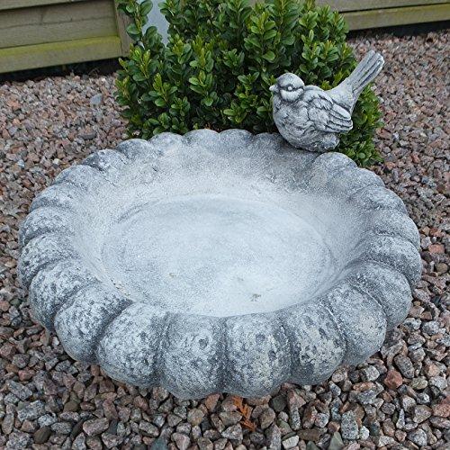 Steinfigur Vogeltränke mit Vogel Wasserstelle VOGELBAD STEINGUSS NEU Frostsicher Patiniert massiver Steinguss