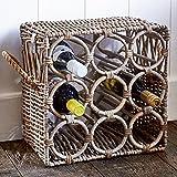 Riviera Maison - Weinregal, Weinflaschenhalter - Rustic Rattan - für bis zu 9 Flaschen - edler Hamptons-Look