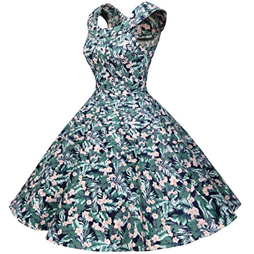 Bbonlinedress 50s Vintage Retro U-Ausschnitt Rockabilly Cocktail Party Kleider Green Flower