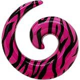 tumundo Pezzo o Set di 6 Dilatatore Spirale Taper Tunnel Piercing 3 4 5 6 8 10mm Zebrato Zebra Rosa Acrilico