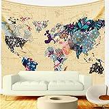 Bonnie Bone mapa del mundo-tapiz con material resistente, ligero, tela de algodón decorativo Tapiz (L59'X82,' colorido Mundo Mapa)