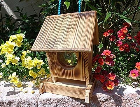 Vogelfutterstation-BEL-X-VOFU1K-gefla001 Kleine Vogelhäuser XXLPREMIUM Vogelhaus Futterstation gebrannt geflammt schwarz natur