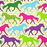 MAGAM-Stoffe ''Judith - Bunte Pferde'' Kinder-Stoff | Jersey und Baumwollstoff Öko-TEX Qualität | Meterware ab 50cm | OX (Baumwollstoff)