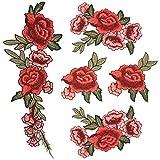 satkago Stickerei Blumen Patches, 5x DIY Nähen Patches für Jacken Kleid T-Shirt Jeans Rock Westen Schal Tasche