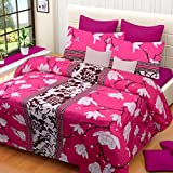 #4: Home Elite 120 TC Cotton Double Bedsheet with 2 Pillow Covers - Floral, Pink