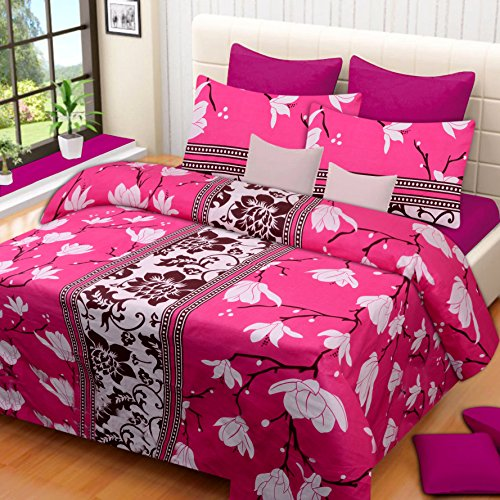 Home Elite 104 TC Cotton Double Bedsheet with 2 Pillow Covers -...