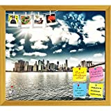 ArtzFolio Brooklyn Bridge & Manhattan Skyline, New York, USA Printed Bulletin Board Notice Pin Board cum Golden Framed Painting 17.7 x 16inch