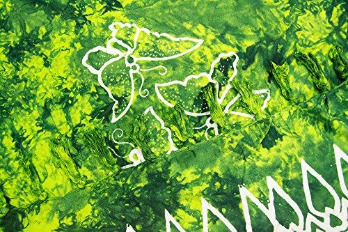 ManuMar Damen Sarong | Pareo Strandtuch | Leichtes Wickeltuch mit Fransen-Quasten Mini-Rock 55x155 cm Hell-Grün Schmetterling