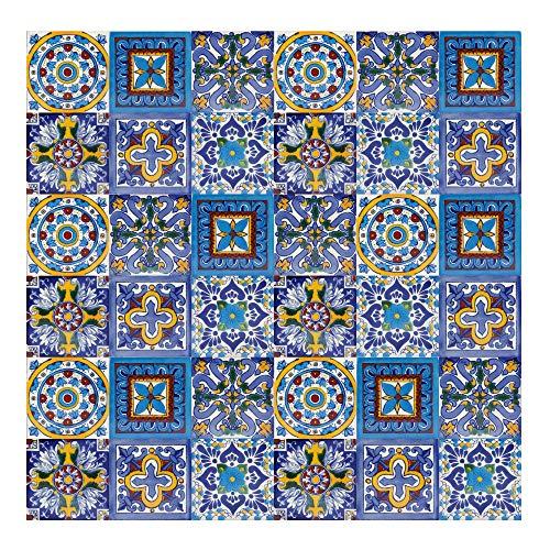 Armando - Piastrelle Messicane Talavera | 30 piezzi 10x10 cm | Mattonelle colorati, decorati | Specchio da parete cucina, bagno, WC | Originale, invece di adesivi pvc | Stile marocchine, spagnole
