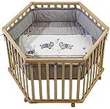 Laufgitter Baby, Laufgitter, Holz eckig, höhenverstellbar, Schutzeinlage