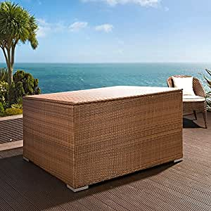 outdoor garten rattan aufbewahrungsbox braun. Black Bedroom Furniture Sets. Home Design Ideas