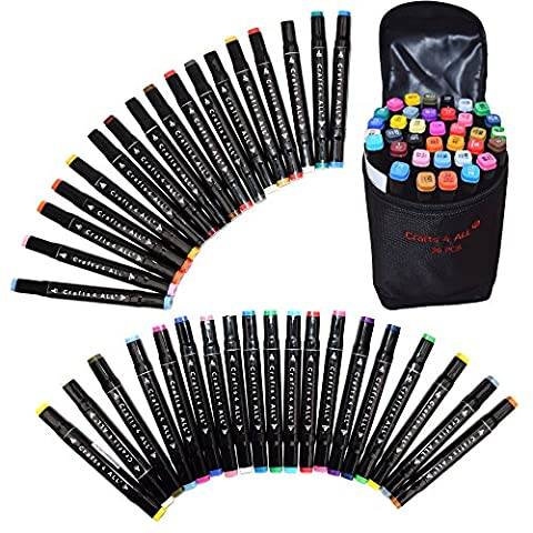Fabric Markers Permanent MINIMAL BLEED 36 Pack Dual TIP Premium Quality Assorted Bright Fine Writers Art Fabric Pens by Crafts 4 All®. Child Safe & Non Toxic. - Fare Body Glitter