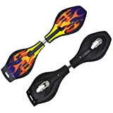 RONTENO Aluminium Alloy Two Wheel Wave Board with 360 Degree Rotating Wheel Skating, 1Pc(Black Color, Only One Design,Large),